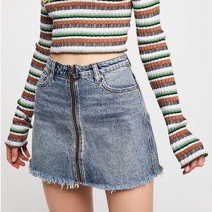 """We the Free """"Zip-It"""" Zipper Front Denim Skirt"""